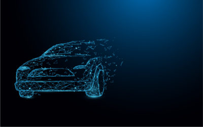 Car form lines, triangles and particle style design. Illustratio